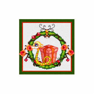 Arte del pixel de la guirnalda del dragón de Yule Fotoescultura Vertical