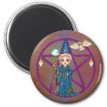 Arte del pixel de Penctacle de la mujer de Witchy Imanes
