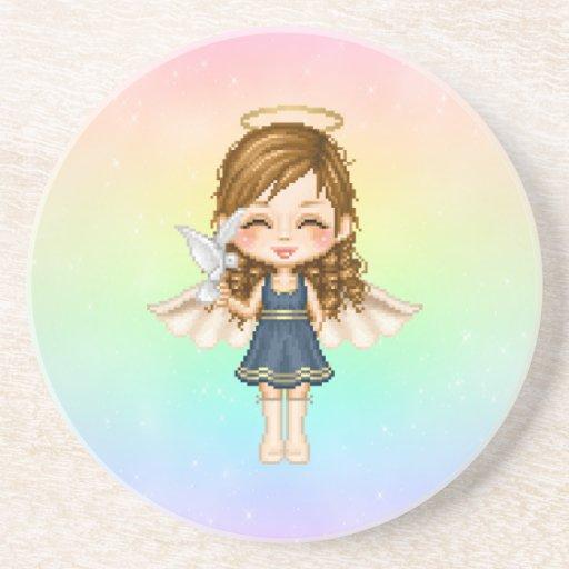 Arte del pixel del ángel azul posavasos personalizados