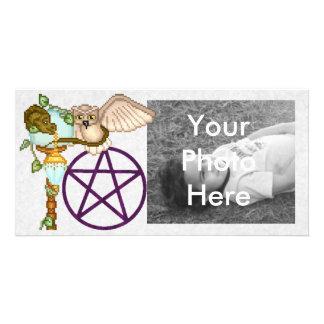 Arte del pixel del búho, del dragón y del tarjeta con foto personalizada