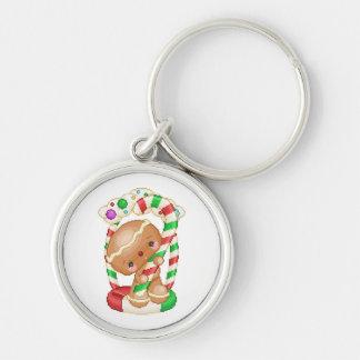 Arte del pixel del caramelo de la muñeca del pan llavero redondo plateado