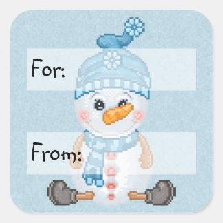 Arte del pixel del compinche de la nieve pegatinas cuadradas personalizadas