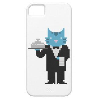 Arte del pixel del gato del camarero iPhone 5 funda