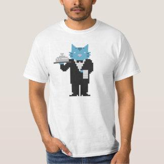 Arte del pixel del gato del camarero remeras