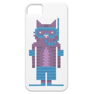 Arte del pixel del gato del nadador del tubo respi iPhone 5 protector