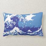 Arte del pixel del pedazo del azul 8 del tsunami almohada