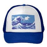 Arte del pixel del pedazo del azul 8 del tsunami d gorros bordados
