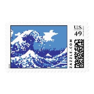 Arte del pixel del pedazo del azul 8 del tsunami estampillas