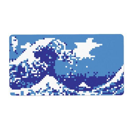 Arte del pixel del pedazo del azul 8 del tsunami etiquetas de envío