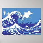 Arte del pixel del pedazo del azul 8 del tsunami poster