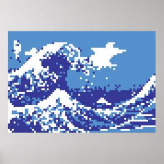 Arte del pixel del pedazo del azul 8 del tsunami póster