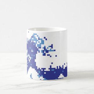 Arte del pixel del pedazo del azul 8 del tsunami tazas