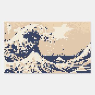 Arte del pixel del pedazo del tsunami 8 del pixel rectangular pegatina