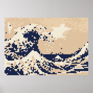 Arte del pixel del pedazo del tsunami 8 del pixel póster