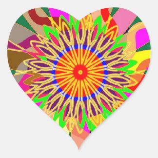 Arte del planeta CHAKRA del SOL:  Fuente de vida Pegatina En Forma De Corazón