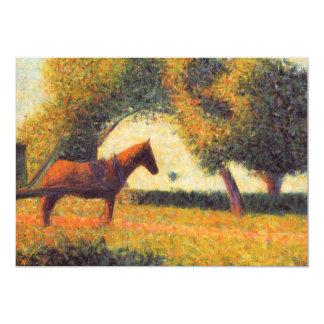 """Arte del pointillist de la pintura del caballo de invitación 5"""" x 7"""""""