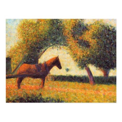 Arte del pointillist de la pintura del caballo y d postal
