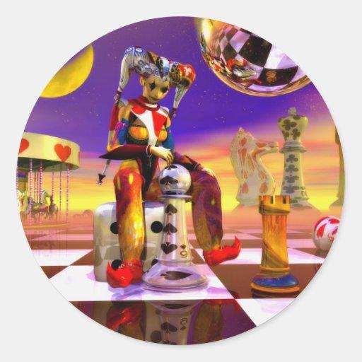 Arte del póker pegatina redonda