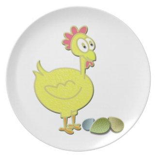 Arte del pollo y de los huevos del dibujo animado plato
