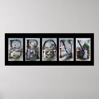 Arte del poster de la letra del alfabeto de BRONX