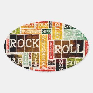 Arte del poster de la música del rock-and-roll pegatina ovalada