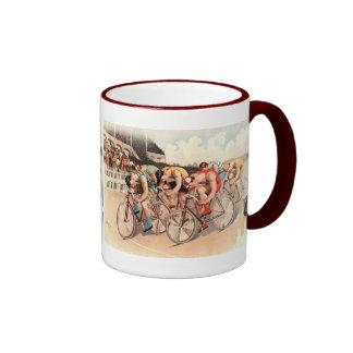 Arte del poster de la raza de bicicleta del vintag taza