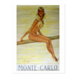 Arte del poster de Nouveau del arte de Monte Carlo Postal