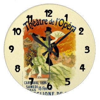 Arte del poster de pasillo de danza del vintage reloj redondo grande