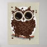 Arte del poster del búho del grano de café