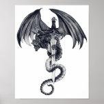 Arte del poster del dragón y de la espada