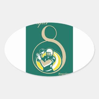 Arte del poster del fútbol americano QB Calcomanía Ovaladas Personalizadas