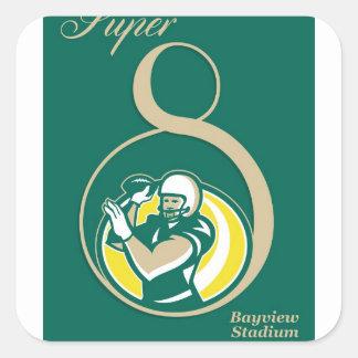 Arte del poster del fútbol americano QB Calcomania Cuadrada Personalizada