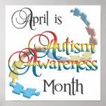 Arte del poster del mes de la conciencia del autis