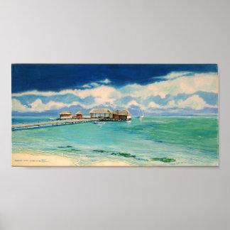 Arte del poster del muelle del Caribe de la playa