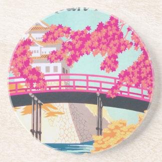 Arte del poster del viaje de Japón del vintage Posavasos Manualidades