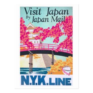Arte del poster del viaje de Japón del vintage Postal