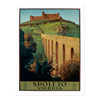 Arte del poster del viaje del vintage de Spoleto U Tarjeta Postal