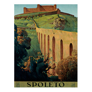Arte del poster del viaje del vintage de Spoleto U Tarjetas Postales