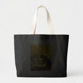 Arte del poster del vintage del burgués y del gato bolsas
