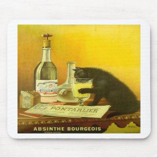 Arte del poster del vintage del burgués y del gato alfombrillas de raton