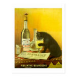 Arte del poster del vintage del burgués y del gato postal