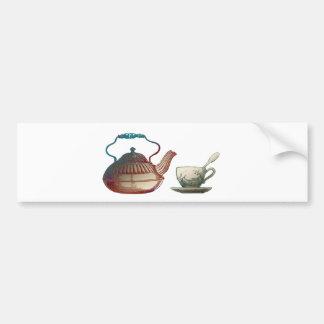 Arte del pote del té y de la taza de té pegatina para auto