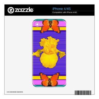 Arte del Púrpura-Trullo del iris amarillo de las iPhone 4S Skin