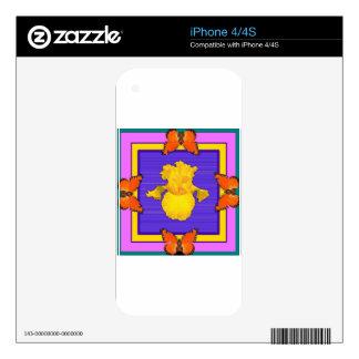 Arte del Púrpura-Trullo del iris amarillo de las Skins Para eliPhone 4