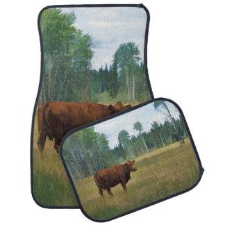 Arte del rancho de ganado de la vaca y del pasto alfombrilla de auto