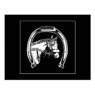 Arte del rasguño del caballo y de la herradura postal