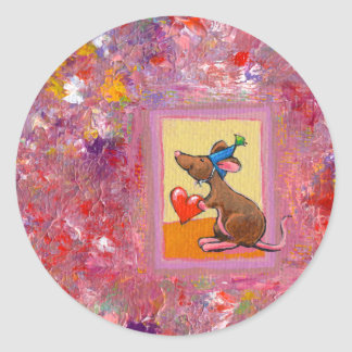 Arte del ratón - distribución abundante del amor pegatina redonda