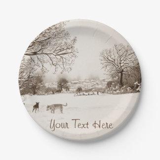 Arte del realista del paisaje de la escena de la plato de papel de 7 pulgadas