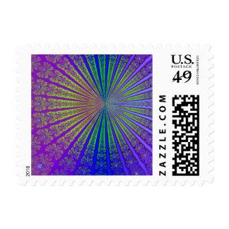 Arte del resplandor solar del fractal sello postal