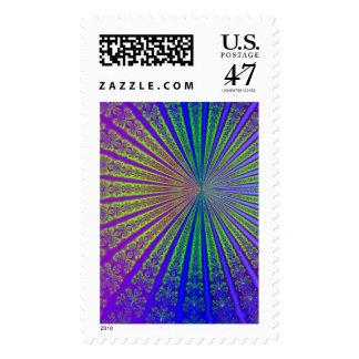 Arte del resplandor solar del fractal timbres postales